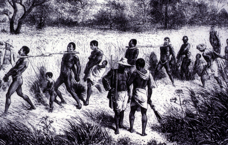 """The title and image obtained from Tibble. His caption is """"A Coffle: Captives were marched, often in yokes, from the inland areas of Africa to the coast for sale to Europeans"""" (p. 102). This image is also published in James Walvin, An African's Life: The Life and Times of Olaudah Equiano, 1745-1797 (Cassell, 1998, p. 11), which cites the original source as Verney Lovett Cameron, Travels in Central Africa (1873). However, there is no book by that title under Cameron's authorship. The image is also in Walvin's Black Ivory (London, 1992), but no original source is identified. This image is one of several images derived from the original engraving in David and Charles Livingstone, Narrative of an Expedition to the Zambesi and its Tributaries (London, 1865). See image reference C019."""