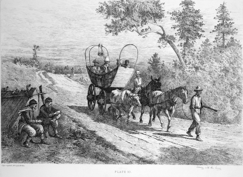 Captioned Coming into the Lines, shows a wagon containing what may be a family escaping to the Union lines during the Civil War. Such fugitive slaves were called contrabands. A barefoot man, carrying a banjo, leads the animals drawing the wagon, and a teenage (?) boy with what appears to be an unusual hat sits atop one of the animals; two white Union soldiers on the left. This engraving, based on a sketch by Forbes (which differs slightly from the published engraving), first appeared in Frank Leslie's Illustrated Newspaper (vol. 18 [1864], p. 340); see Library of Congress, Prints and Photographs Division (LC-USZ62-88806).