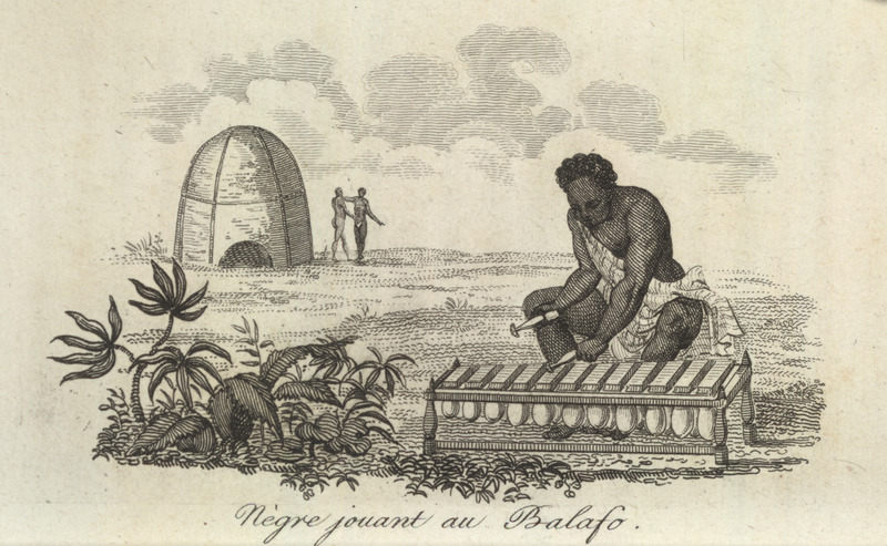 Caption, Negre jouant au balafo (Black playing the balafon); musician playing; circular house or granary in background.  Villeneuve lived in the Senegal region for about two years in the mid-to-late 1780s. The engravings in his book, he writes, were made from drawings that were mostly done on the spot during his African residence (vol. 1, pp. v-vi). The same illustration appears in color in the English translation of Villeneuve; see Frederic Shoberl (ed.), Africa; containing a description of the manners and customs, with some historical particulars of the Moors of the Zahara . . . (London, 1821), vol. 4, facing p. 119.