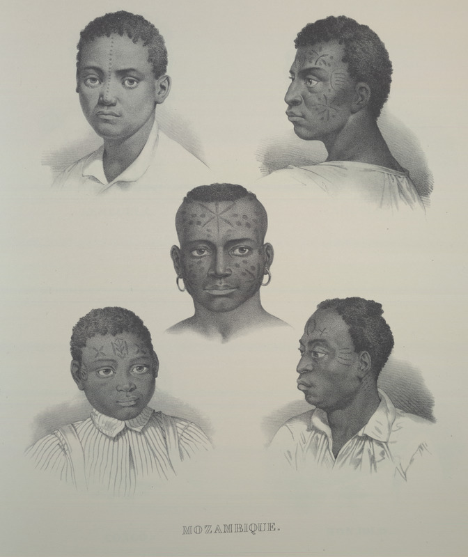 Shows facial scarification and designs. For an analysis of Rugendas' drawings, as these were informed by his anti-slavery views, see Robert W. Slenes, African Abrahams, Lucretias and Men of Sorrows: Allegory and Allusion in the Brazilian Anti-slavery Lithographs (1827-1835) of Johann Moritz Rugendas (Slavery & Abolition, vol. 23 [2002], pp. 147-168).