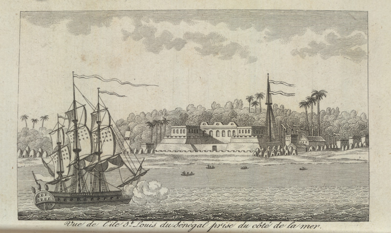 Caption, vue de l'ile St. Louis du Sènègal prise du cotè de la mer (view of the island of St. Louis, Senegal, taken from the sea side); note African houses. Villeneuve lived in the Senegal region for about two years in the mid-to-late 1780s. The engravings in his book, he writes, were made from drawings that were mostly done on the spot during his African residence (vol. 1, pp. v-vi). The same illustration appears in color in the English translation of Villeneuve; see Frederic Shoberl (ed.), Africa; containing a description of the manners and customs, with some historical particulars of the Moors of the Zahara . . . (London, 1821).