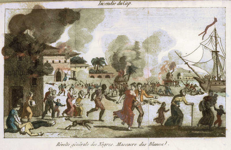 Color foldout, top caption, Incendie du Cap [Burning of Cape Francais]; bottom, Revolte gènèrale des Negres. Massacre des Blancs [General revolt of the Blacks. Massacre of the Whites]. Shows, from a decidedly pro-colonial perspective, whites fleeing Cap Francais in Saint Domingue, as the slave rebellion of 1793 intensified; many of these whites fled to the United States and elsewhere in the Caribbean. See also image JCB_76-63-1