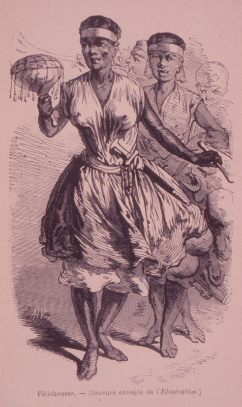 Caption, Feticheuses, shows two women dancing, with gourd rattles.