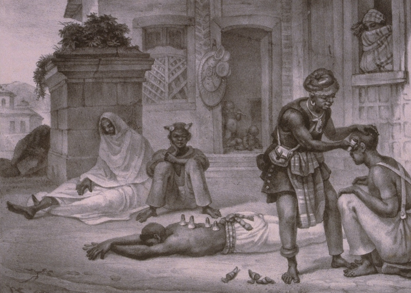 Caption, Le Chirugien Negre (the black surgeon), shown at work in an urban setting. The engravings in this book were taken from drawings made by Debret during his residence in Brazil from 1816 to 1831. For watercolors by Debret of scenes in Brazil, some of which were incorporated into his Voyage Pittoresque, see Jean Baptiste Debret, Viagem Pitoresca e Historica ao Brasil (Editora Itatiaia Limitada, Editora da Universidade de Sao Paulo, 1989; a reprint of the 1954 Paris edition, edited by R. De Castro Maya).