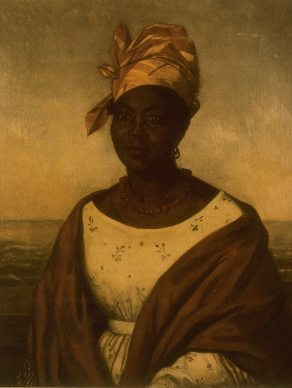 Oil painting by Adolph Rinck, a German artist of a femme de couleur libre, wearing an elaborate kerchief or tignon. The subject is possibly Marie Laveau, the famous voodoo priestess (Campbell and Rice, p. xi). The University Art Museum, Lafayette, Louisiana holds the painting.