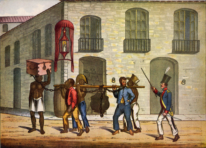 Title, Food for Criminals, shows prisoners in the Rio jail taking the daily pittance of food for their miserable brethren in Gaol. The man on the left carries a box containing bread or biscuit, while the iron pot suspended from the pole contains the soup, meat, and vegetables. The worst and most hardened of the prisoners are distinguished by irons round the leg, in addition to those on the neck (pp. 232-233). The foreground figures in Chamberlain's book were probably copied from water-colors drawn earlier by Joaquim Candido Guillobel. Born in Portugual in 1787, Guillobel came to Brazil in 1808, and from 1812 started drawing and painting small pictures on cards of everyday scenes in Rio de Janeiro. For biographical details on Guillobel, who died in 1859, and reproductions of about 60 of his original drawings in color (but not the ones of the Jail Prisoners), see Joaquim Candido Guillobel, Usos e Costumes do Rio de Janeiro nas figurinhas de Guillobel [1978]. The text of this volume is given in both Portuguese and English; the author of the biographical notes who is, presumably the compiler of the volume, is not given in the Library of Congress copy that was consulted. (See this website, Chamberlain for related drawings.)