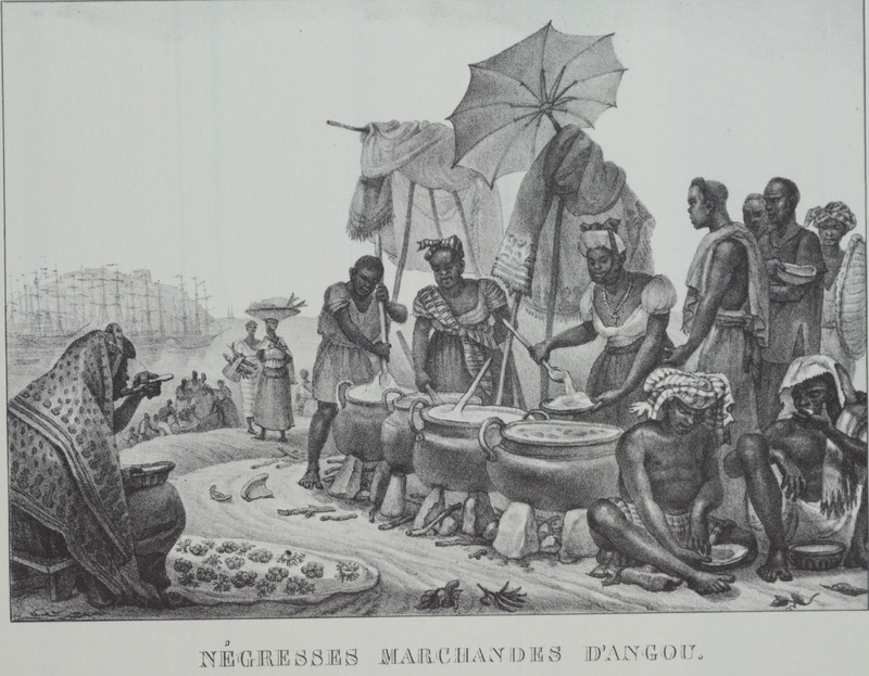 Caption, negresses marchandes d'angou (Black women, sellers of angou). Angu is a dish made of corn, cassava or rice flour, with water and salt; illustration shows women ladeling it out from large cooking cauldrons. The engravings in this book were taken from drawings made by Debret during his residence in Brazil from 1816 to 1831. For watercolors by Debret of scenes in Brazil, some of which were incorporated into his Voyage Pittoresque, see Jean Baptiste Debret, Viagem Pitoresca e Historica ao Brasil (Editora Itatiaia Limitada, Editora da Universidade de Sao Paulo, 1989; a reprint of the 1954 Paris edition, edited by R. De Castro Maya).