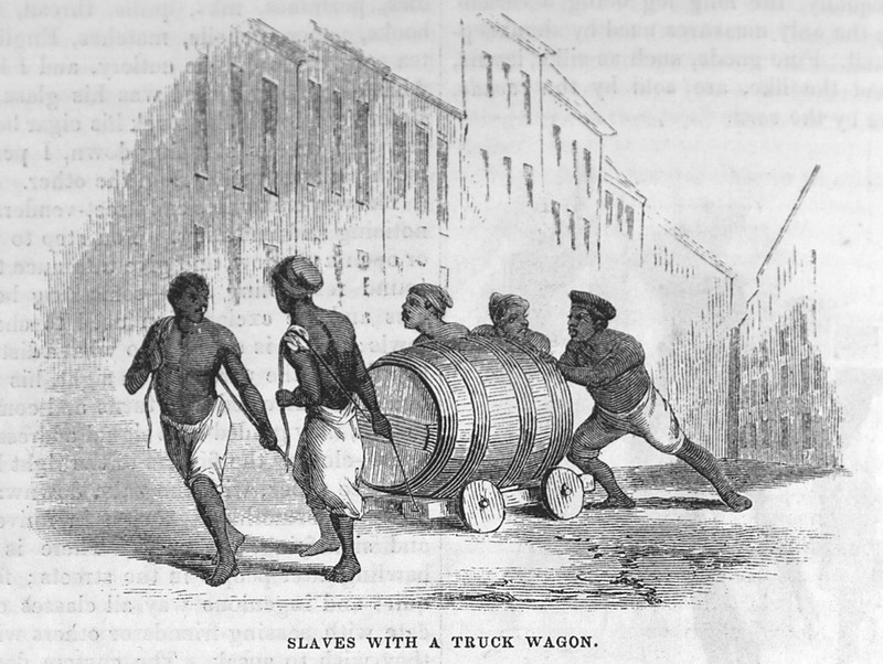 This illustration shows five men pushing and hauling a large hogshead on a low wagon in Brazil. Thomas Ewbank (1792–1870) was an English writer on practical mechanics. In 1845–1846, he traveled to Brazil and on his return published an account of his travels. He was then appointed United States Commissioner of Patents by President Taylor in 1849. Harper's Magazine (also called Harper's) is a monthly magazine of literature, politics, culture, finance and the arts.