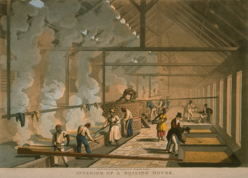 Captioned Interior of a Boiling House, this shows the process of sugar making and the coppers (large vats) in which the cane juice was boiled and crystallized into sugar. Little is known of William Clark although he was probably a manager or overseer of plantations in Antigua. The ten prints in the collection (only 9 of which are shown on this website) are based on his drawings, converted into prints by professional printmakers. All of the prints are shown and extensively described in T. Barringer, G. Forrester, and B. Martinez-Ruiz, Art and Emancipation in Jamaica: Isaac Mendes Belisario and his Worlds (New Haven : Yale Center for British Art in association with Yale University Press, 2007), pp. 318-321; the descriptions in the Yale publication are based on Clark's unpaginated text and quotations from that text.