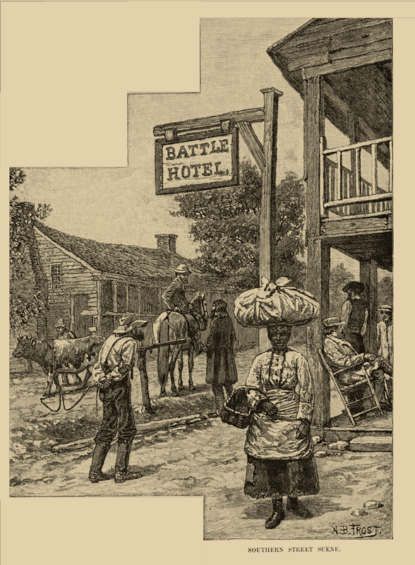 Caption, Southern Street Scene; several people, including woman with bundle on her head and basket under arm.