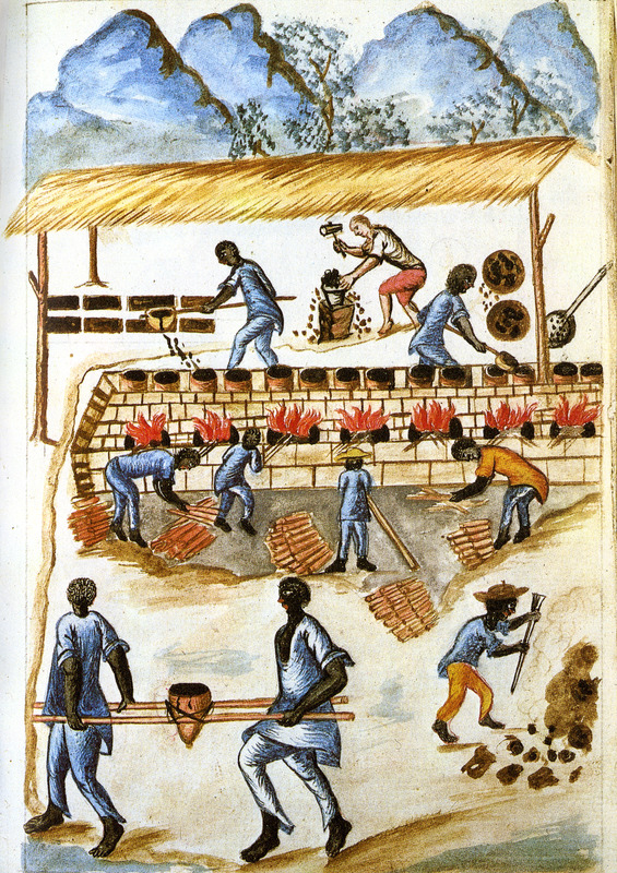Drawing identified as Saca y beneficio de la Brea del Mineral de Amotape, shows blacks working with/processing tar/pitch. This and hundreds of other drawings were done by unidentified Native Americans during the 1780s and were commissioned by the Spanish Bishop Baltazar Jaime Martinez Companon during his pastoral visit to the region of Trujillo in northern Peru. The drawings, spread over nine volumes, are of Spaniards, Native Americans, plants and animals, as well plans and maps of the region. Only Vol. 2 contains a few pictures of blacks, the index to the volume giving very sparse information on each drawing. (See other images Trujillo on this website.)