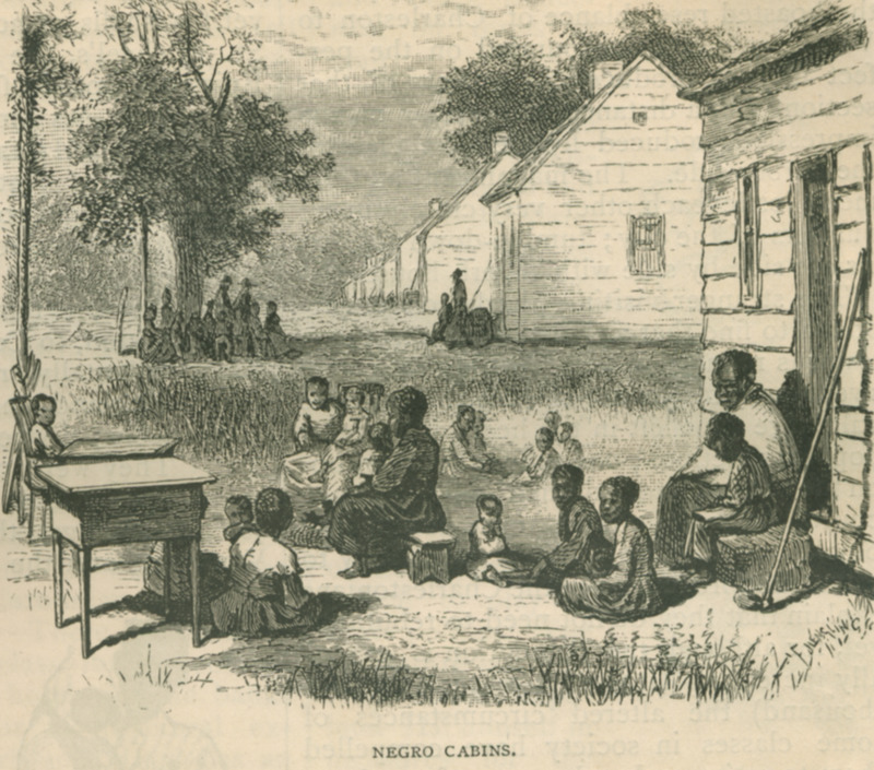 This engraving in Scribner's is obviously derived from a stereograph taken in 1860 of the slave quarters on a South Carolina plantation, near Charleston; see Harvey Teal, Partners with the sun: South Carolina photographers, 1840-1940 (Univ. of South Carolina Press, 2000), pp. 276, 278. In any case, the Scribner's article notes that at the time of publication these cabins were located where mansions once stood; they were situated near the harbor, by King Street in Charleston. This illustration was also published in Edward King, The Great South (Hartford, Conn., 1875), p. 431, and later appeared in Ernst von Hesse-Wartegg, Mississippi-Fahrten [Travels on the lower Mississippi, 1879-1880](Leipzig, 1881). (Thanks to Keith Brady for his help in identifying the original source of this image.)