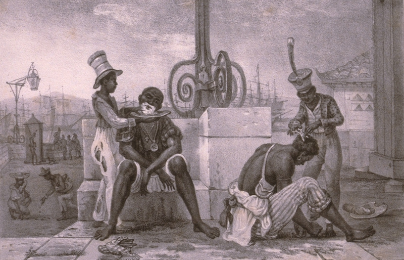 Caption, Les Barbiers Ambulants, shows two barbers cutting hair and shaving customers in a port town. The engravings in this book were taken from drawings made by Debret during his residence in Brazil from 1816 to 1831. For watercolors by Debret of scenes in Brazil, some of which were incorporated into his Voyage Pittoresque, see Jean Baptiste Debret, Viagem Pitoresca e Historica ao Brasil (Editora Itatiaia Limitada, Editora da Universidade de Sao Paulo, 1989; a reprint of the 1954 Paris edition, edited by R. De Castro Maya).