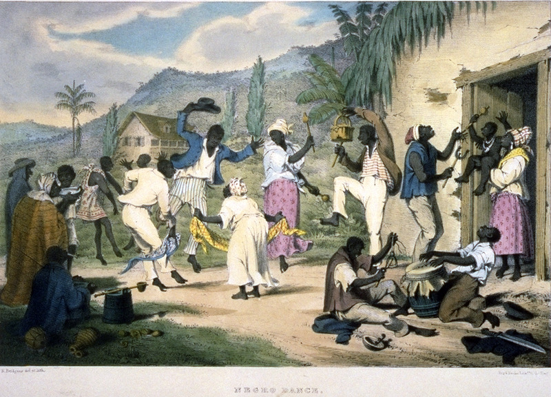 Caption, Negro Dance. A plantation dance, probably held on a weekend, and musical instruments. Bridgens stresses the importance of the dance and dancing in the life of the enslaved, and how people normally dress in their best clothes. The instruments include a drum, made of a barrel, covered at one end with a piece of dried goat's skin, and a . . . shak-shak, formed of a hollow calabash, in which some shot or stones are enclosed (Bridgens). The Library of Congress has a colored lithograph (shown here); in other copies of the Bridgens book, it is in black/white. A sculptor, furniture designer and architect, Richard Bridgens was born in England in 1785, but in 1826 he moved to Trinidad where his wife had inherited a sugar plantation, St. Clair. Although he occasionally returned to England, he ultimately lived in Trinidad for seven years and died in Port of Spain in 1846. Bridgens' book contains 27 plates, thirteen of which are shown on this website. The plates were based on drawings made from life and were done between 1825, when Bridgens arrived in Trinidad, and 1836, when his book was published. Although his work is undated, the title page of a copy held by the Beinecke Rare Book Room at Yale University has a front cover with a publication date of 1836, the date usually assigned to this work by major libraries whose copies lack a title page. Bridgens' racist perspectives on enslaved Africans and his defense of slavery are discussed in T. Barringer, G. Forrester, and B. Martinez-Ruiz, Art and Emancipation in Jamaica: Isaac Mendes Belisario and his Worlds (Yale University Press, 2007), pp. 460-461. Bridgensí life is discussed extensively along with discussion of his drawings and presentation of many details on slave life in Trinidad in Judy Raymond, The Colour of Shadows: Images of Caribbean Slavery (Coconut Beach, Florida: Caribbean Studies Press, 2016). Raymondís book, which is an essential source for any study of Bridgens, also includes a number of unpublished sketches of Trinidadian slave life. See also Brian Austen, Richard Hicks Bridgens (Oxford Art Online/Grove Art Online).