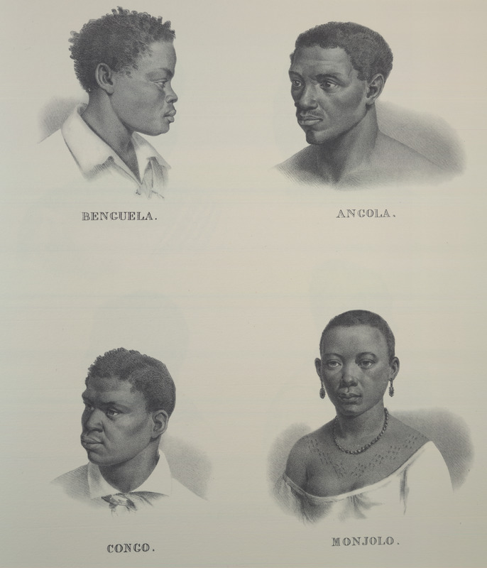 Clockwise from top left: Benguela, Angola, Congo, Monjolo; woman on lower right displays body cicatrization. For an analysis of Rugendas' drawings, as these were informed by his anti-slavery views, see Robert W. Slenes, African Abrahams, Lucretias and Men of Sorrows: Allegory and Allusion in the Brazilian Anti-slavery Lithographs (1827-1835) of Johann Moritz Rugendas (Slavery & Abolition, vol. 23 [2002], pp. 147-168).