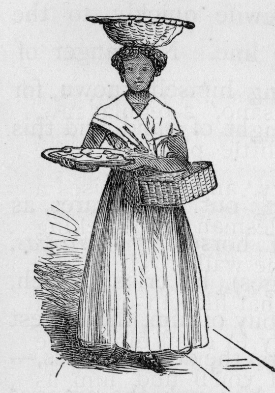 "This image depicts an enslaved woman selling sweets with a basket on her head, another under her arm, and a tray in her hand. Hazard explained how ""dulce sellers are neat-looking mulatto women, rather better attired than most of the colored women one meets in the street. They carry a basket on the arm, or perhaps upon the head, while in their hands they have a waiter, with all sorts of sweetmeats - mostly, however, the preserved fruits of the country, and which are very delicious. . . [the dulce sellers] usually are sent out by private families, the female members of which make these dulces for their living, the saleswomen often being the only property they own, and having no other way (or, perhaps, too proud, if they have) of gaining a livelihood"" (p. 167). Samuel Hazard (1834-1876) was an American publisher and bookseller from Pennsylvania, who collected engravings and prints. After joining the union army, he rose through the ranks as brevet major until he resigned on surgeon's certificate of disability in 1865. After, he traveled to Cuba and Santo Domingo as a correspondent of the Philadelphia Press during protracted conflict related to the decolonization of the Spanish Caribbean."
