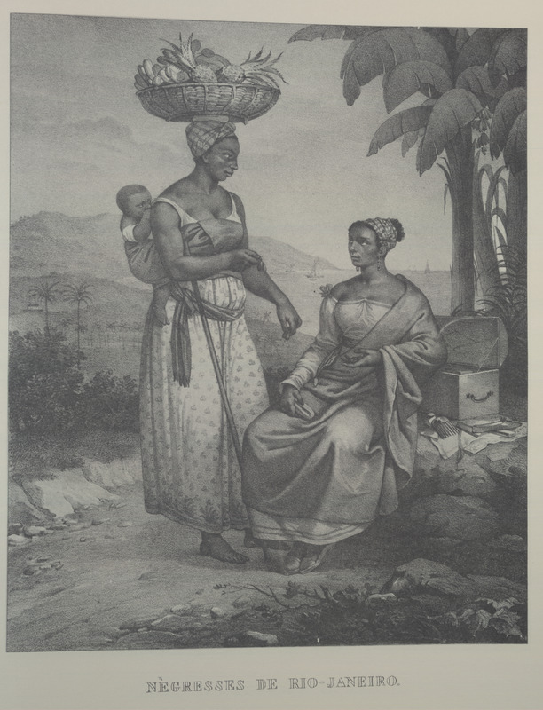 Woman with basket of fruit on her head, baby carried on her back, African-style. For an analysis of Rugendas' drawings, as these were informed by his anti-slavery views, see Robert W. Slenes, African Abrahams, Lucretias and Men of Sorrows: Allegory and Allusion in the Brazilian Anti-slavery Lithographs (1827-1835) of Johann Moritz Rugendas (Slavery & Abolition, vol. 23 [2002], pp. 147-168).