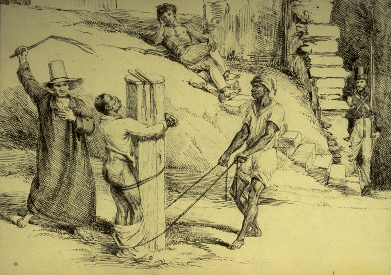 Pencil and sepia drawing by Charles Landseer, an English artist who visited Brazil when he was around 26 years old. The sketch shows a white (?) man whipping a black slave who is tied to a post and held by another black. Captioned Black Punishment at Rio de Janeiro, there is no other information on this scene, which Landseer presumably witnessed during his stay in 1825-26. The original drawing is in a private collection in Rio de Janeiro although it, along with Landseer's other approximately 130 Brazilian sketches and drawings, was published in a facsimile limited edition, edited with an introduction by C.Guinle de Paula Machado, Sketchbook containing studies made in Brazil, 1825-26 (Sao Paolo, Brazil, 1972).