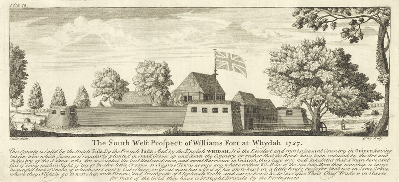 Title, The South West Prospect of Williams Fort at Whydah 1727. Called Fida by the Dutch, Juda by the French, and Whidah by the English. The caption praises the climate and location, notes the population density, and how the natives . . . are accounted the best husband men [farmers] and worst warriors in Guinea . . . . Here they worship a large beautiful kind of snake . . .kept in a little house built for that use in some grove, where they nightly go to worship with drums, and trumpets of elephants teeth . . . . Their chief trade is in slaves. Smith was hired by the Royal African Company in 1726. See also images mariners on this website.