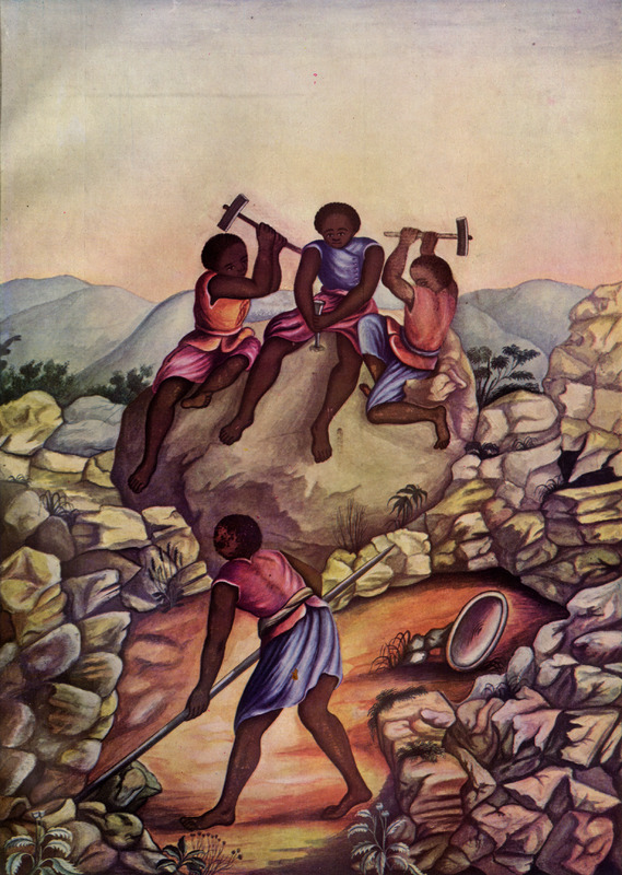 The three slaves in the center background are breaking rock to extract diamonds. Born in Italy ca.1740, Juliao joined the Portuguese army and traveled widely in the Portuguese empire; by the 1760s or 1770s he was in Brazil, where he died in 1811 or 1814. For a detailed analysis and critique of Juliao's figures as as representations of Brazilian slave life, as well as a biographical sketch of Juliao and suggested dates for his paintings, see Silvia Hunold Lara, Customs and Costumes: Carlos Juliao and the Image of Black Slaves in Late Eighteenth-Century Brazil (Slavery & Abolition, vol. 23 [2002], pp. 125-146). C. R. Boxer, The Golden Age of Brazil, 1695-1750 (Univ. of Calif. Press, 1962) reproduces this painting (in black and white) and gives it a date of 1762.