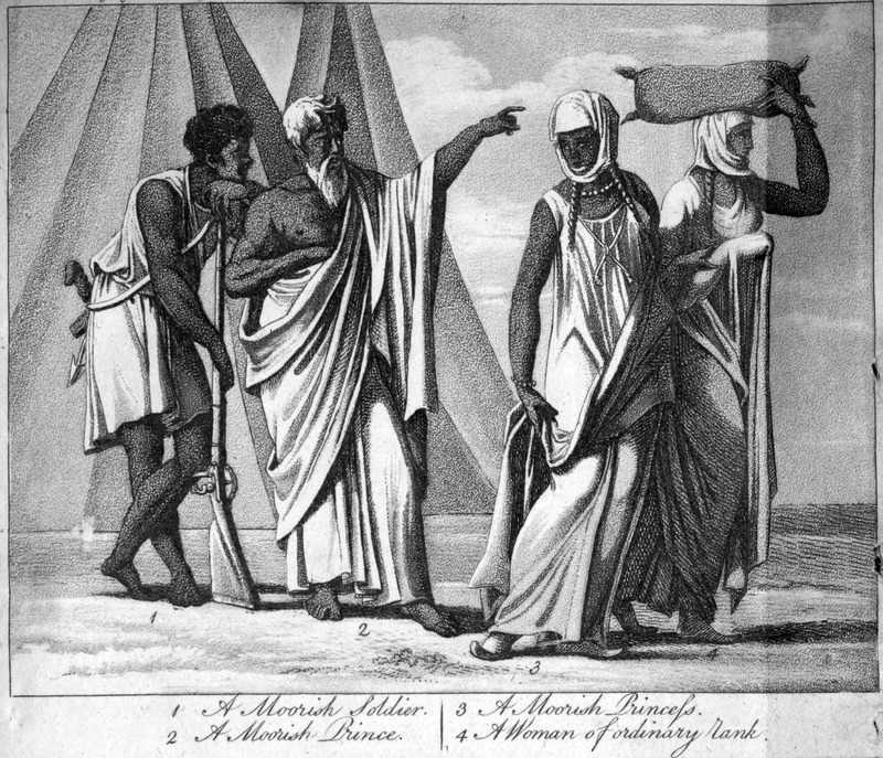 This image depicts Muslims from the Senegambia region. It is one of several fanciful engravings created by the publisher for this volume and not based on an eye-witness sketch. Jean-Baptiste-Léonard Durand (1742-1812) was a French director for the Compagnie du Sénégal in 1785 and 1786. The first edition in French does not contain any images.