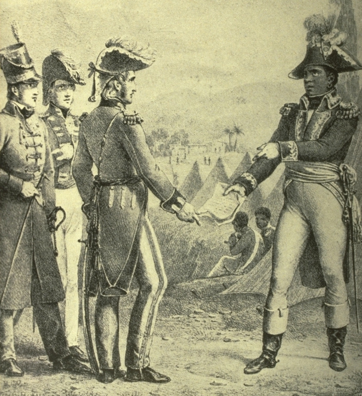 Caption, General Maitland meets Toussaint to discuss secret treaty. An artist's rendition of an event during the Haitian revolution, wherein the commander-in-chief of the British Army in Saint Domingue meets with the leader of the revolution. The treaty is described in Alexis, p. 110 ff. This image is also published in the 1985 Paris reprint edition of Antoine Matral, Histoire de l'Expedition des Francais a Saint-Dominique (Paris, 1825), plate 18, where the source is given as an (unidentified) item in the Bibliotheque Nationale, Paris.  It is questionable if there are any images of Toussaint that were actually taken from life. See also other images of Toussaint on this website.