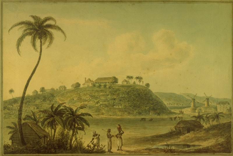 A water color by Nicholas Pocock showing Green Castle Estate. In the foreground are slave houses, several figures (including a woman with a pottery jar on her head); background shows plantation house on top of hill, slave houses on hillside, two windmills and other buildings. (slide of painting, courtesy of Ralph Stetson)