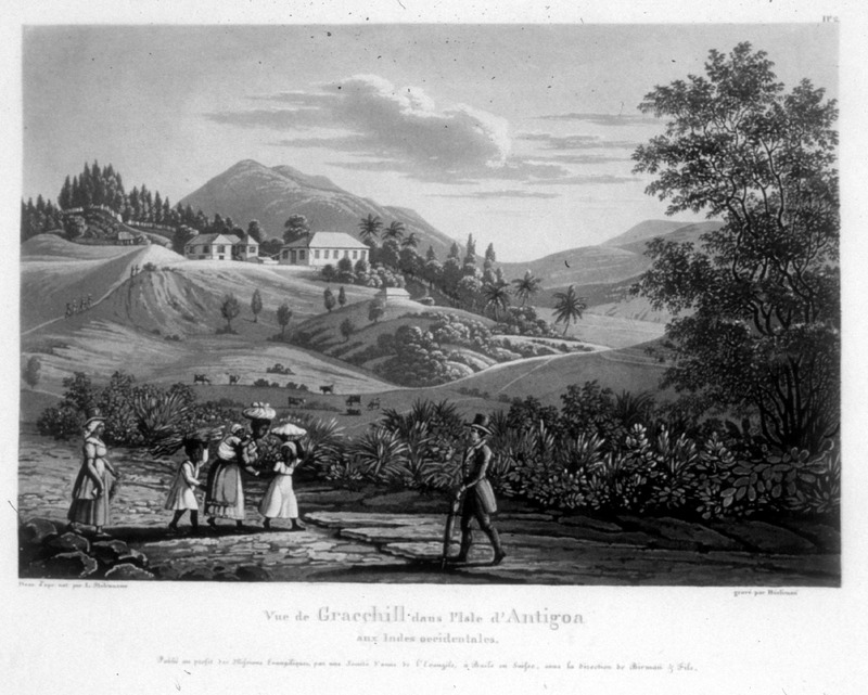 """""""View of Gracehill in the island of Antigua in the West Indies"""" (caption translation). This engraving shows the Gracehill plantation with the big house in the background and several enslaved children and a mother with an infant on her back in the foreground. One of a set of four separately published engravings, which were likely compiled by John Henry Lewis Stobwasser, probably the son of Johann H. Stobwasser, who was a Moravian missionary in Antigua from 1812 until 1822; he died in Berlin in 1832 (information courtesy of Perry Miles, derived from research in Moravian Archives, London)."""