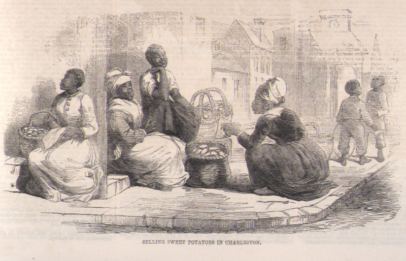 Caption, selling sweet potatoes in Charleston; group of women street vendors with baskets of goods; children playing in background. An engraving taken from eye-witness sketch by the English artist, Eyre Crowe. The accompanying article notes that the vendors are slaves who must give a percentage of their profits to their owners. Also published in New York Illustrated News (March 9, 1861), vol. 3, p. 284.