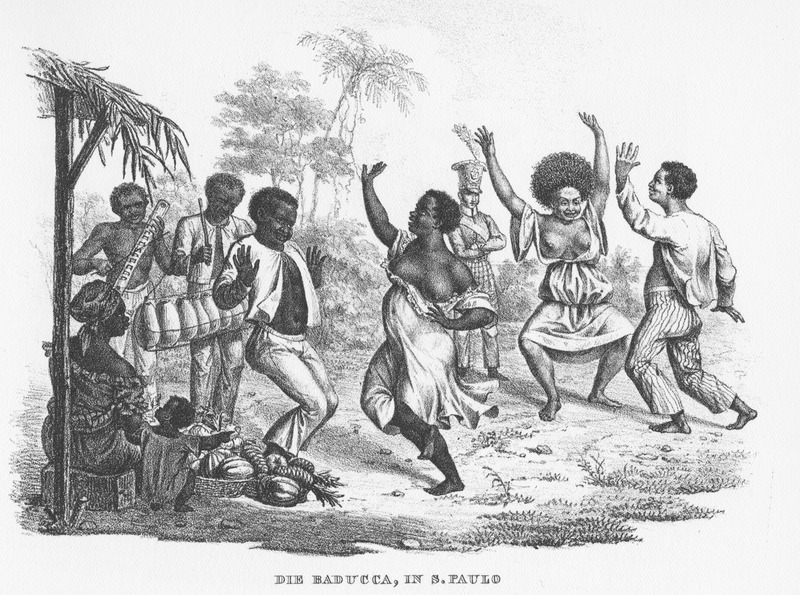 Caption: Die Baducca, in S. Paulo, shows men and women dancing; a man playing a large rasp (left) and another a balafon/marimba-type instrument. Onlookers include a female hawker with her goods and small child as well as a European soldier. A somewhat modified version of this image was published in Alcide Dessalines d'Orbigny, Voyage pittoresque dans les deux Amèriques (Paris, 1836), facing p. 211, fig.1.
