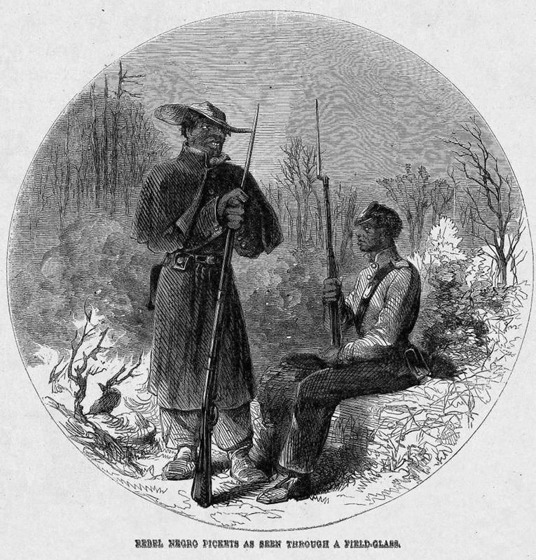 This circular image shows two black soldiers, one is sitting and the other standing. These two men were soldiers in Fredericksburg, Virginia. The author of the accompanying article discusses the debate between Southern slave owners and Northerners as to the involvement of slaves in the civil war. Some Northerners questioned the practice, while many slave owners found Negroes to be quite useful. Harper's Weekly: A Journal of Civilization was an American political magazine based in New York City and published by Harper & Brothers from 1857 until 1916. It featured foreign and domestic news, fiction, essays on many subjects and humor, alongside illustrations. It covered the American Civil War extensively, including many illustrations of events from the war.