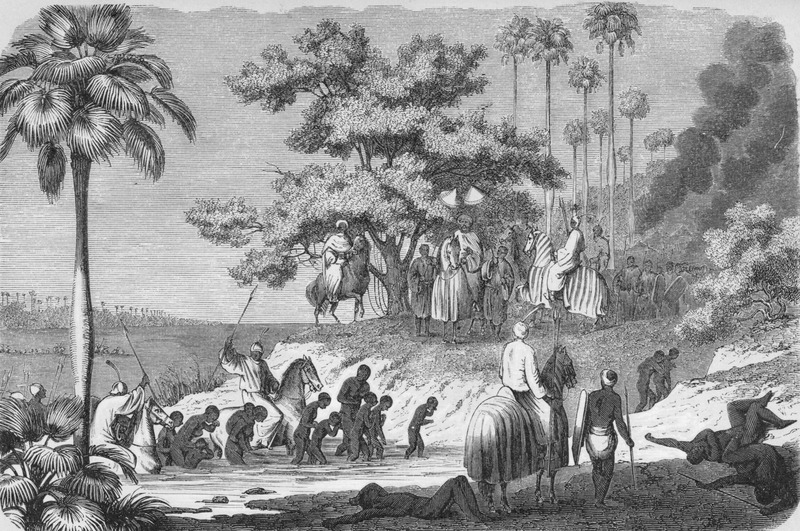 Caption, Sklavenjagd am Tubori-see [slave hunt at Tuburi lake]. Group of enslaved adults and children being led across river by their captors, some of whom are mounted on horses and armed; south of Bornu.