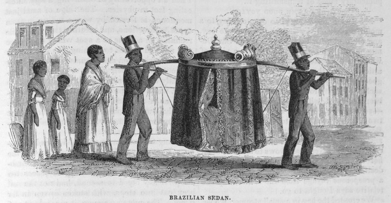 "This image depicts two formally attired enslaved males, followed by several females, carrying the palanquin of some dignitary in Brazil. The Brazilian scholar, Gilberto Freyre described how ""within their hammocks and palanquins the gentry permitted themselves to be carried about by Negroes for whole days at a time, some of them travelling in this manner from one plantation to another, while others employed this mode of transport in the streets; when acquaintances met, it was the custom to draw up alongside one another and hold a conversation"" (see The Masters and the Slaves (New York, 1956), p. 409-410, 428)."