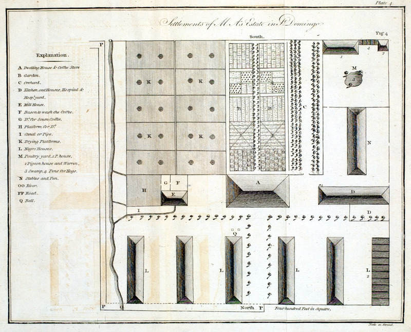 Settlements of Mr. As estate in St. Domingo, shows layout of a coffee estate, with each of its major features indicated by a letter. For example, A, the dwelling house & coffee store and L the Negro houses. The proximity of the slave houses to the owner's house reflects the settlement pattern found throughout the West Indies on sugar plantations. This work was written during the brief period that Britain occupied St. Domingue, and its author hoped for the restoration of the pre-revolutionary order.