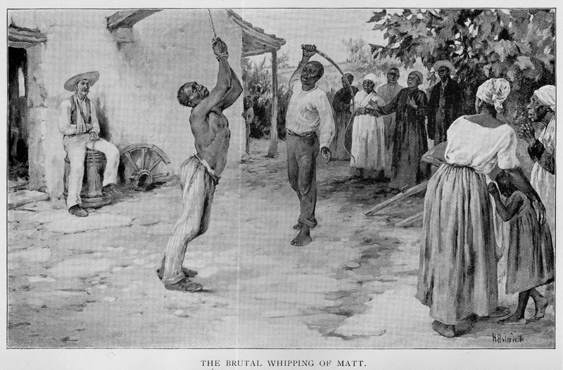 Caption, The Brutal Whipping of Matt; depicted is the whipping of a slave, Matt, on a plantation in southern Virginia on the North Carolina border. The beating occurs, Livermore writes, because the overseer was injured in an accidental burning at the blacksmith's forge, and irrationally decided that Matt was responsible. The slave Matt, a most intelligent and manly fellow, a great favorite with the children and myself received thirty-nine lashes, and was beaten until the lacerated body hung limp and seemingly lifeless (pp. 212-17)