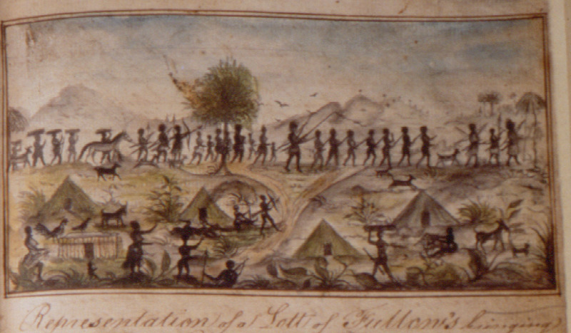 Color drawing, cropped from a page of a ship's log, showing coffle of slaves and guards armed with bows and arrows and spears; African village in the foreground. The first line of the caption reads: Representation of a Lott of Fullows [Fula, Fulani] bringing their slaves for sale to the Europeans . . . . This illustration is from the log of the Sandown, a slave ship that sailed from London to Sierra Leone in 1793. Accompanying this illustration, the ship's captain, Samuel Gamble, describes how slaves were brought to the coast, sometimes . . . upwards of one thousand miles out of the interior part of the country, by the Fulani to sell to Europeans. The Fulani captors make fast round the neck [of the captives] a long stick which is secur[e]d round the others awaist from one to another so that one man can steer fifty and stop them at his pleasure. At night their hands are tied behind their backs, which causes them to lay down with great difficulty. The Sandown eventually arrived in Jamaica where over 200 captives were sold.  See also the excellent annotated publication of Gamble's log, which also includes a clearer b/w reproduction of this image, edited by Bruce L. Mouser, A Slaving Voyage to Africa and Jamaica: The Log of the Sandown, 1793-1794 (Indiana Univ. Press, 2002).
