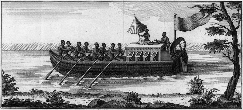 This engraving shows eight black men rowing a Tent-Boot, another at the helm, and a woman (?) with an umbrella sitting on the roof of the cabin; such boats were used by planters for riverine transport. See also image NW0264.