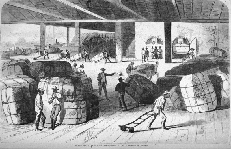 Although dating from the post-slavery period, this illustration of stevedores loading cotton bales could well serve for earlier times. (Slide of image and bibliographic citation, courtesy of Phil Lapsansky)