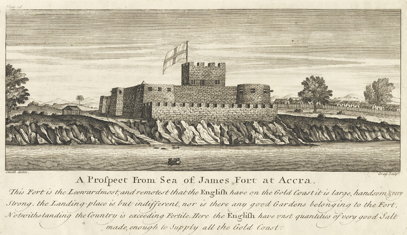 Title, A Prospect From Sea of James Fort at Accra. . . . the Leeward most and remotest that the English have on the Gold Coast . . . here the English have vast quantities of very good salt. The African town, shown on right, was commonly found adjacent to European forts/trading stations in West Africa. Smith made this survey for the Royal African Company. See also other images mariners on this website.