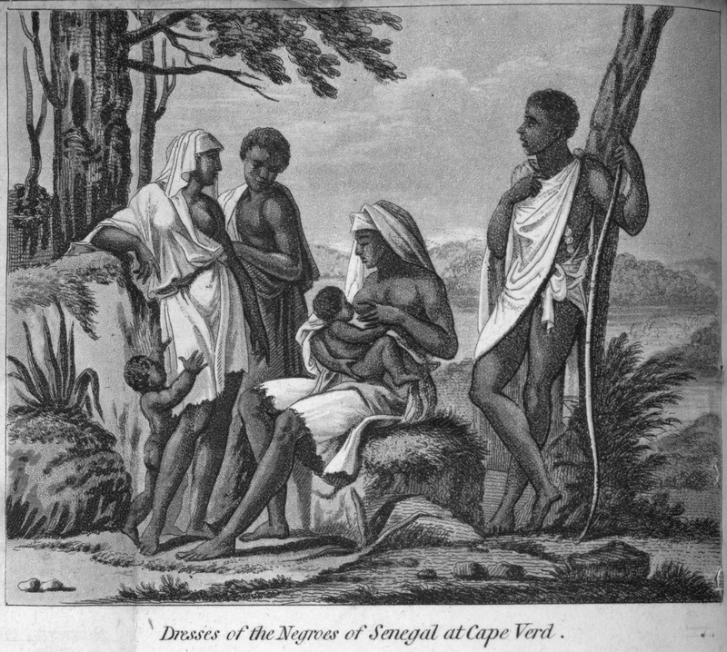 """This image depicts a woman nursing an infant and a man with a bow at Cap-Vert near Gorée in the Senegambia region. Durand generalized how """"both the men and women are of a good size, and well shaped; their skin is of so fine a black, that it seems like polished marble"""" (p. 56). This image is one of several fanciful engravings created by the publisher for this volume and not based on an eye-witness sketch. Jean-Baptiste-Léonard Durand (1742-1812) was a French director for the Compagnie du Sénégal in 1785 and 1786. The first edition in French does not contain any images."""