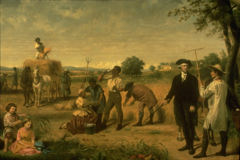 Oil painting titled, George Washington as a Farmer.  An imagined scene depicting G.W. surrounded by slaves working in a field. Starting in 1849, Stearns (1810-1885) produced several paintings in his life of Washington series; some of these were published as lithographs in New York in 1853-54 (information courtesy of K. D. Daly and B. O'Leary, VMFA).
