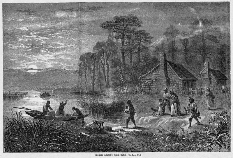 This image shows a family leaving their cabin by boat under the cover of night northwards for the Union line. Harper's Weekly: A Journal of Civilization was an American political magazine based in New York City and published by Harper & Brothers from 1857 until 1916. It featured foreign and domestic news, fiction, essays on many subjects and humor, alongside illustrations. It covered the American Civil War extensively, including many illustrations of events from the war.