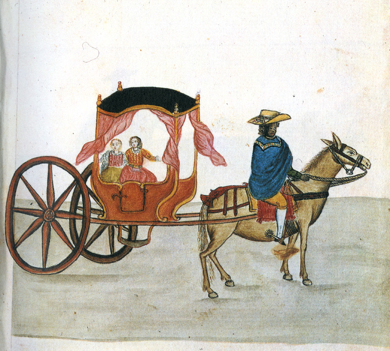 Drawing identified as Espanolas en calesa, shows a black (or Native American) man on a horse, pulling a coach with two European women inside. This and hundreds of other drawings were done by unidentified Native Americans during the 1780s and were commissioned by the Spanish Bishop Baltazar Jaime Martinez Companon during his pastoral visit to the region of Trujillo in northern Peru. The drawings, spread over nine volumes, are of Spaniards, Native Americans, plants and animals, as well plans and maps of the region. Only Vol. 2 contains a few pictures of blacks, the index to the volume giving very sparse information on each drawing. (See other images Trujillo on this website.)
