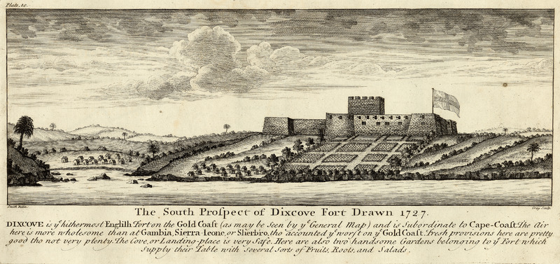 Caption: The South Prospect of Dixcove Fort Drawn 1727, ye hithermost English fort on the Gold Coast . . . and is subordinate to Cape-Coast. The caption gives geographical features of the area and food provisioning; note the African towns outside of the fort. Smith made his survey for the Royal African Company. see also, other images mariners on this site.