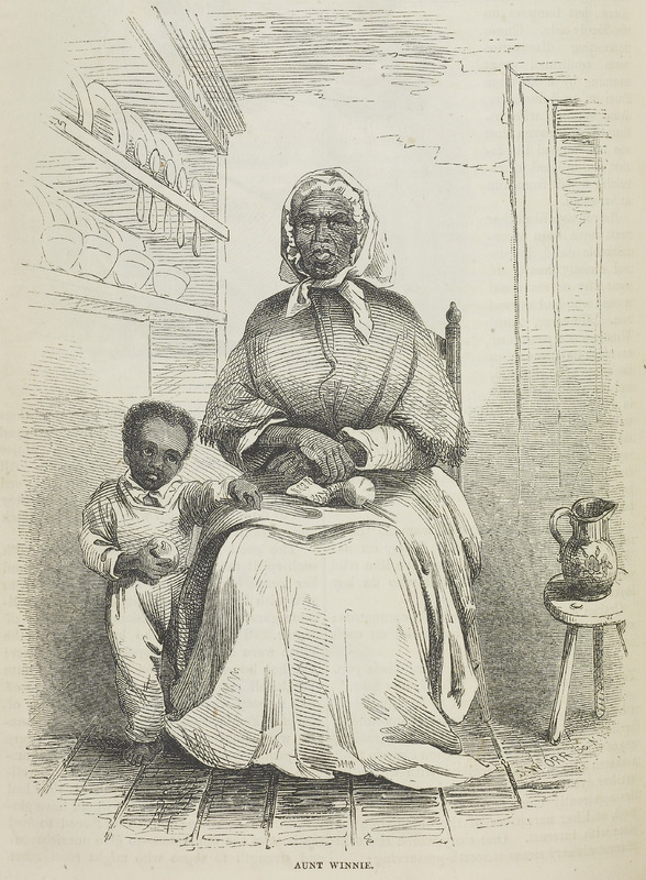 """For this image, the author reported on a visit to an estate in Central Virginia, not far from Charlottesville, where they met an enslaved domestic, Aunt Winnie, who was """"of too much importance on the estate to be slighted. . . Her little white-washed cabin stood at no great distance from the great house, and was fitted up with due regard to the comfort of the aged occupant, not forgetting the ornamental, in the shape of highly colored lithographs and white-fringed curtains. . . Aunt Winnie was supposed to be upward of a hundred years old, and could count among her descendants' children of the fifth generation, one of whom stood at her side when Crayon took a sketch of her. She walked with difficulty, but her eyes were bright, and her other faculties apparently complete. Her memory was good and her narratives of the olden time replete with interest"""" (p. 309-310). David Hunter Strother (1816–1888) was a successful magazine illustrator and writer, popularly known by his pseudonym, """"Porte Crayon."""" He rose through the ranks of the union army to Brevet Brigadier General. For Virginia Illustrated, he wrote and illustrated """"Adventures of Porte Crayon and His Cousins,"""" which was a narrative of the experiences of several travelers through central Virginia in late 1853. The series then appeared in five parts in Harpers New Monthly Magazine between 1854 and 1856. See Cecil Eby, Porte Crayon: The Life of David Hunter Strother (Chapel Hill, 1960); and also images HARP01 and HARP02."""