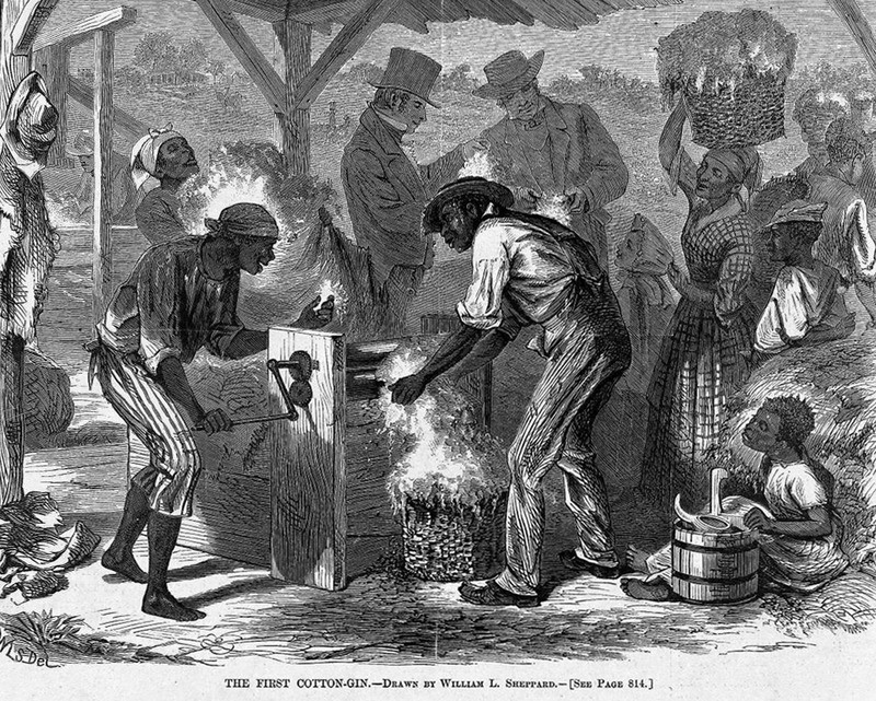 This image shows two black men operating the gin, while women carried bales with children helping. White men oversee this operation. The illustration accompanies an article describing the construction of this gin, a model that preceded the one invented by Eli Whitney (p. 814) . A version of this image was later published in Charles C. Coffin, Building the Nation (New York, 1883), p. 76. Harper's Weekly: A Journal of Civilization was an American political magazine based in New York City and published by Harper & Brothers from 1857 until 1916. It featured foreign and domestic news, fiction, essays on many subjects and humor, alongside illustrations. It covered the American Civil War extensively, including many illustrations of events from the war.