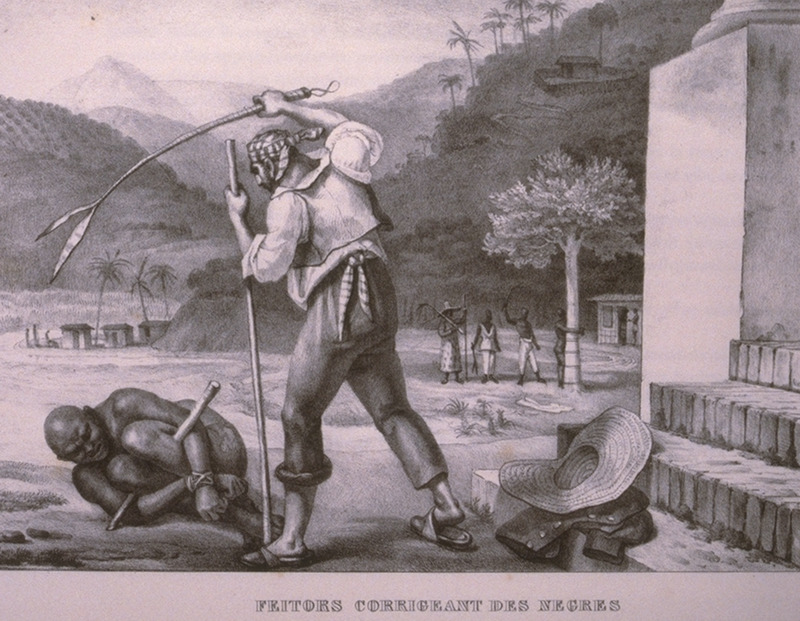 Caption, Feitors corrigeant des Negres (plantation overseers punishing blacks). Foreground, European whipping black on ground with arms and legs lashed together; background, black tied to tree being lashed by another black. The engravings in this book were taken from drawings made by Debret during his residence in Brazil from 1816 to 1831. For watercolors by Debret of scenes in Brazil, some of which were incorporated into his Voyage Pittoresque, see Jean Baptiste Debret, Viagem Pitoresca e Historica ao Brasil (Editora Itatiaia Limitada, Editora da Universidade de Sao Paulo, 1989; a reprint of the 1954 Paris edition, edited by R. De Castro Maya).
