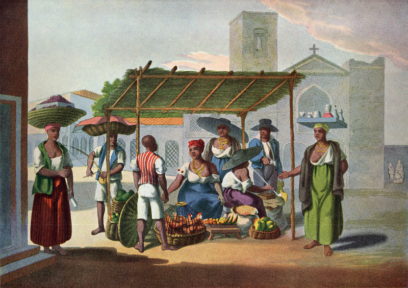 The author writes that this type of stall is typical of those in the city. Consisting of four upright posts and covered with banana or sugar cane leaves, it is easily set up in the morning and taken down at night. These market stalls usually belong to free women of color who sell poultry, vegetables, root crops and corn; sometimes also bread and fried fish. Also shown (right) is a woman vendor with a tray holding wine and cachaca, a kind of bad rum, the common spirit of the country; another woman (left) selling milho or Indian corn. A black man, carrying a loaded basket on his head (second from left), is playing a madimba lungungo, an African musical instrument in the shape of a bow, with a wire instead of a string. At the end where the bow is held is fixed an empty calabash or wooden bowl . . . the manner of playing is very simple. The wire being well stretched is gently struck producing a note, which is modulated by the fingers of the other hand pinching the wire in various places ... . The owner of the stall is shown smoking a long-stemmed pipe (pp. 214-215).  The foreground figures in Chamberlain's book were copied from four separate water-colors drawn earlier by Joaquim Candido Guillobel. Born in Portugual in 1787, Guillobel came to Brazil in 1808, and from 1812 started drawing and painting small pictures on cards of everyday scenes in Rio de Janeiro. For biographical details on Guillobel, who died in 1859, and reproductions of about 60 of his original drawings in color (including the ones shown here), see Joaquim Candido Guillobel, Usos e Costumes do Rio de Janeiro nas figurinhas de Guillobel [1978]. The text of this volume is given in both Portuguese and English; the author of the biographical notes who is, presumably the compiler of the volume, is not given in the Library of Congress copy that was consulted. (See this website, Chamberlain for related drawings.)