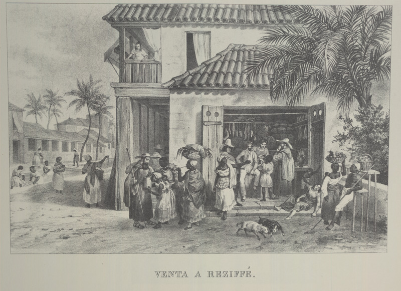 Urban scene, showing variety of people engaged in selling goods(e.g., women with baskets of fruit); also some type of shop; blacks and whites. For an analysis of Rugendas' drawings, as these were informed by his anti-slavery views, see Robert W. Slenes, African Abrahams, Lucretias and Men of Sorrows: Allegory and Allusion in the Brazilian Anti-slavery Lithographs (1827-1835) of Johann Moritz Rugendas (Slavery & Abolition, vol. 23 [2002], pp. 147-168).
