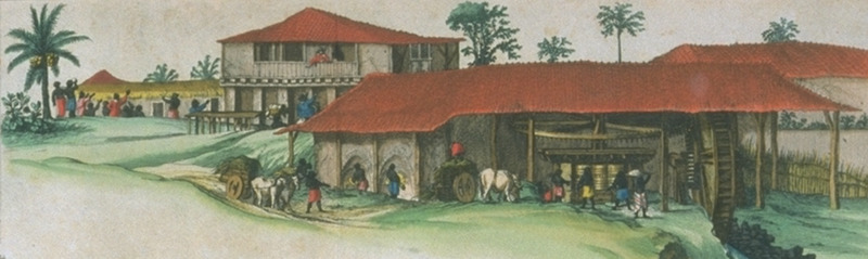 Detail of inset on Blaeu's Brazil, ca. 1640, showing sugar works and plantation buildings. For complete image, see NW0062; for a slightly different version, published in Blaeu's Atlas maior (1662), see image blaeu04a.